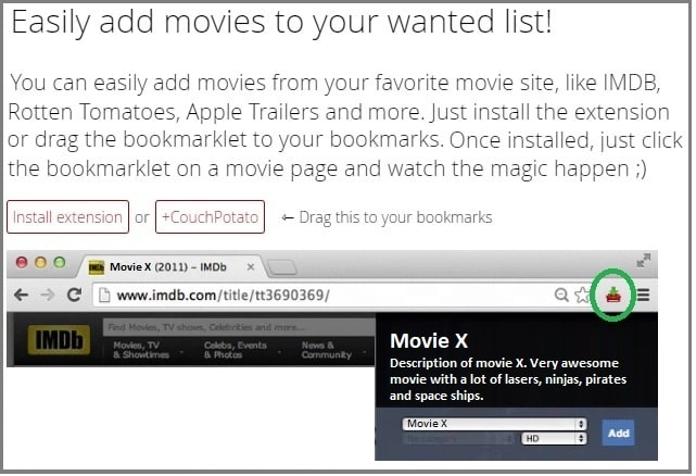 CouchPotato Browser extensions