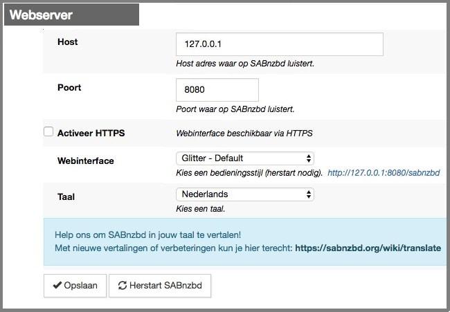 SABnzbd Webserver instellingen
