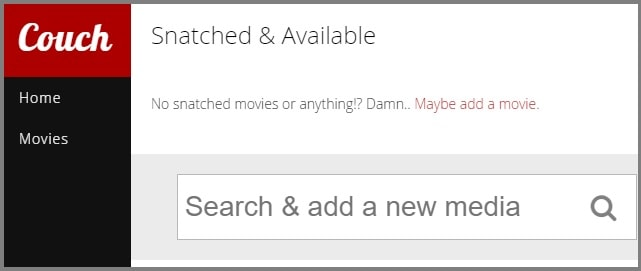 Search movie with CouchPotato