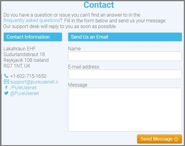 Pure Usenet contact form