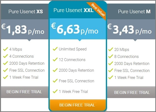 Pure Usenet prices english