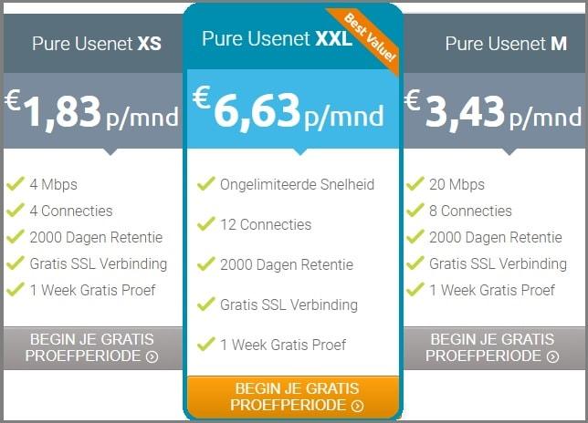 Pure Usenet prijzen