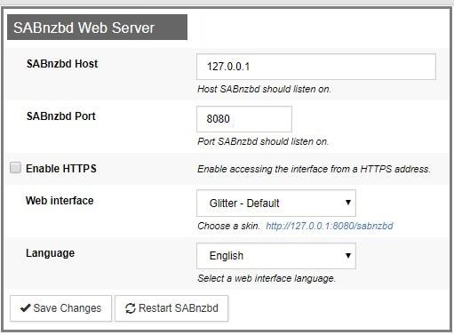 SABnzbd web server