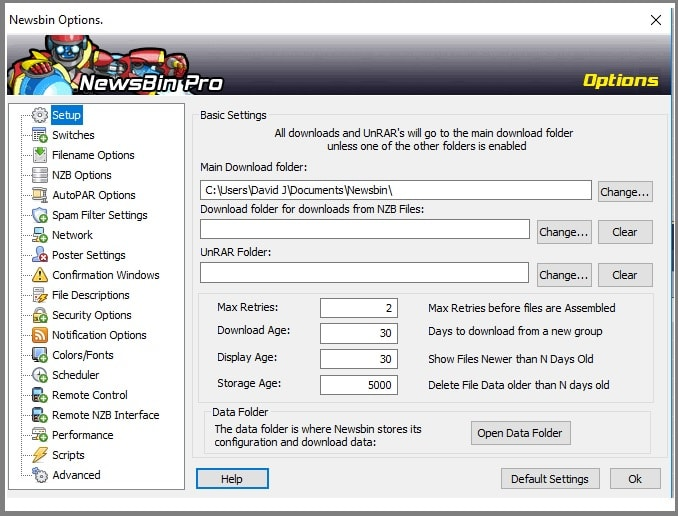 Newsbin Pro change settings