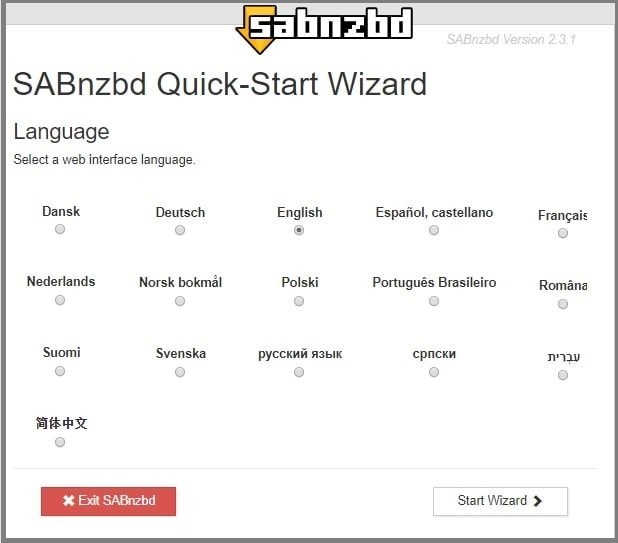 select language SABnzbd